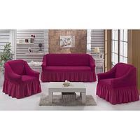Набор чехлов для дивана и кресел BULSAN 3-х предметный, цвет лаванда