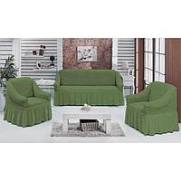 Набор чехлов для дивана и кресел BULSAN 3-х предметный, цвет зелёный