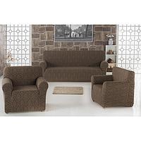 Набор чехлов для дивана и кресел Milano, 3-х предметный, цвет коричневый
