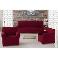 Набор чехлов для дивана и кресел Milano, 3-х предметный, цвет бордовый