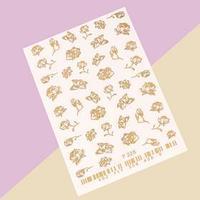 Слайдер-дизайн для ногтей 'Цветы', цвет золотой