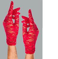 Перчатка Сетка капроновые ажурные с вышивкой короткие красная