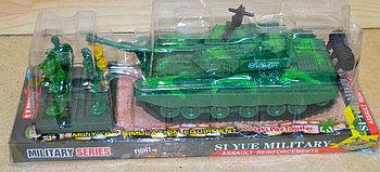 8661 Танк Siyue military +4 солдата в колбе 29*10см
