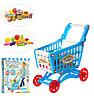 922-10  Тележка shopping cart  с продуктами синяя 56предм 51*41см