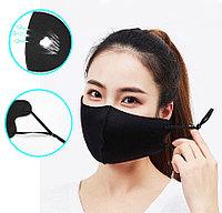 Многоразовая защитная маска дышащаяся тонкая от пыли с резинкой для регулировки длины Best mask черная