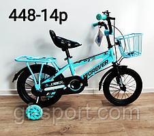 Велосипед Forever голубой оригинал детский с холостым ходом 14 размер