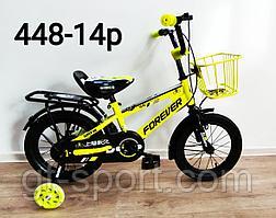 Велосипед Forever салатовый оригинал детский с холостым ходом 14 размер