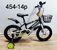 Велосипед Phoenix серо-салатовый оригинал детский с холостым ходом 14 размер