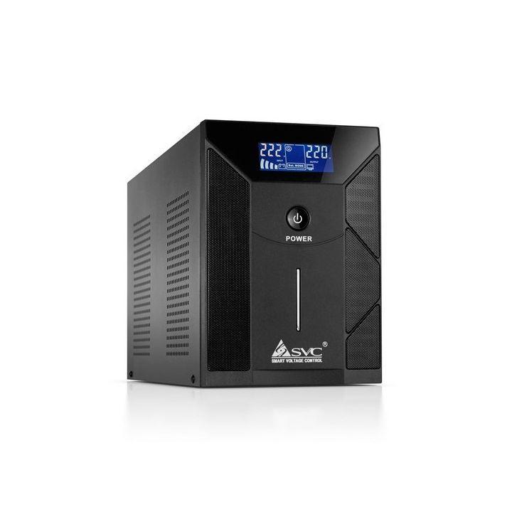 UPS, SVC, V-3000-F-LCD, Smart, USB, Диапазон работы AVR: 175-275В, 4 вых: Shuko CEE7, Бат,: 12В/7,5