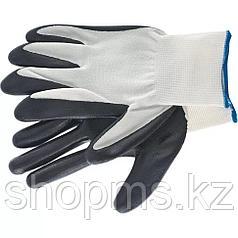 Перчатки полиэфирные с черным нитрильным покрытием маслобензостойкие, L, 15 класс вязки// Сибртех