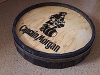 """Срез деревянной декоративной бочки """"Captaine Morgan"""" H120 * D 600 мм."""