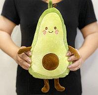 Мягкая игрушка подушка тряпичная Авокадо с личиком зеленое маленькая 34 см