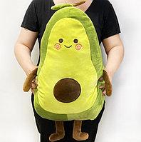 Мягкая игрушка подушка тряпичная Авокадо с личиком зеленое большая 70 см
