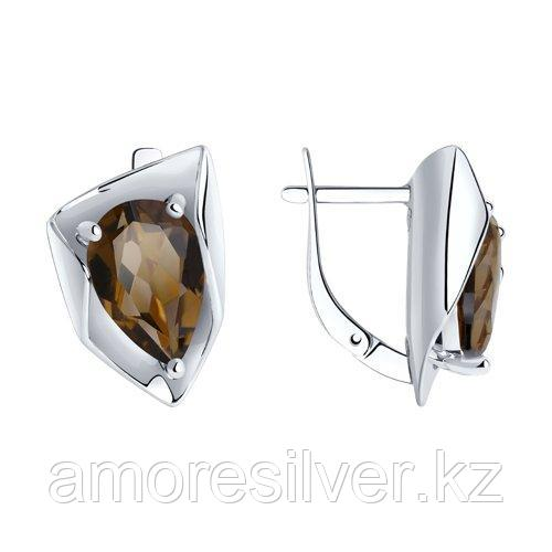 Серьги SOKOLOV серебро с родием, раух-топаз 92022327