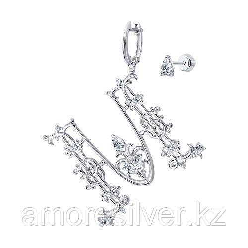 Серьги SOKOLOV серебро с родием, фианит  94024488