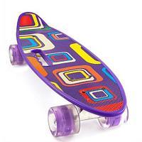 Скейт Penny Board {Пенни Борд} с подсветкой колёс на алюминиевой платформе (Фиолетовый / С принтом)