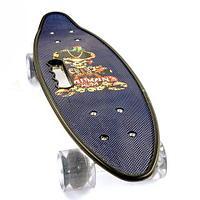Скейт Penny Board {Пенни Борд} с подсветкой колёс на алюминиевой платформе (Темно-синий / С принтом)