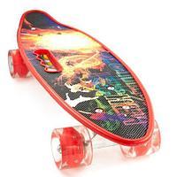 Скейт Penny Board {Пенни Борд} с подсветкой колёс на алюминиевой платформе (Красный / С принтом)