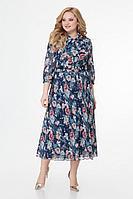 Женское осеннее шифоновое большого размера платье Slaviaelit 451 синий 50р.