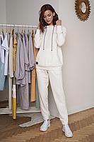 Женский осенний трикотажный белый спортивный спортивный костюм Fantazia Mod 3940 50р.