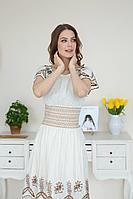 Женское летнее из вискозы белое платье Claire 2408 молочно-коричневый 42р.
