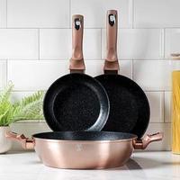Набор посуды Berlinger Haus Rosegold Line, 3 предмета 2 сковороды d20, 24 см, сотейник 3,8 л, 28x7 см