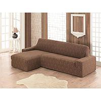 Чехол Milano угловой на диван левосторонний, цвет коричневый