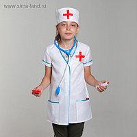 """Карнавальный костюм """"Доктор"""", халат, колпак, инструменты, р-р 34, рост 134-140 см"""