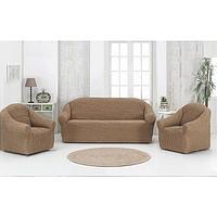 Набор чехлов для дивана и кресел Karna 3-х предметный, цвет кофейный