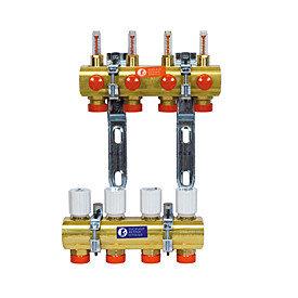 Коллекторы латунные с терморегулирующими клапанами и расходомерами Giacomini