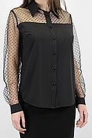 Женская осенняя черная нарядная блуза VLADOR 500625-1 черный 46р.