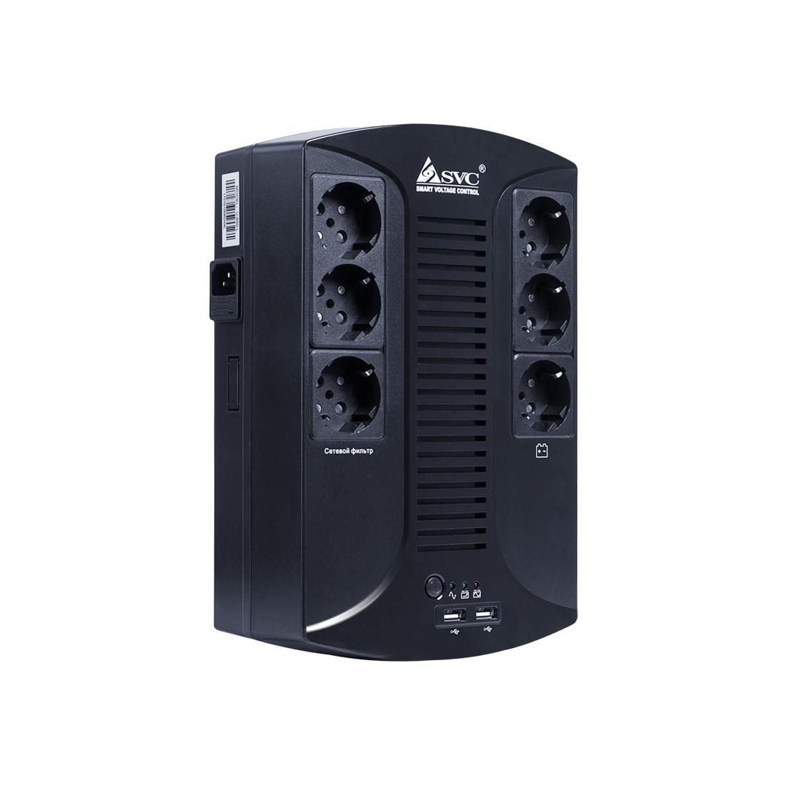 Источник бесперебойного питания, SVC, U-650-L, Smart, USB, Мощность 650ВА/390Вт, Диапазон работы AVR: 145-290В