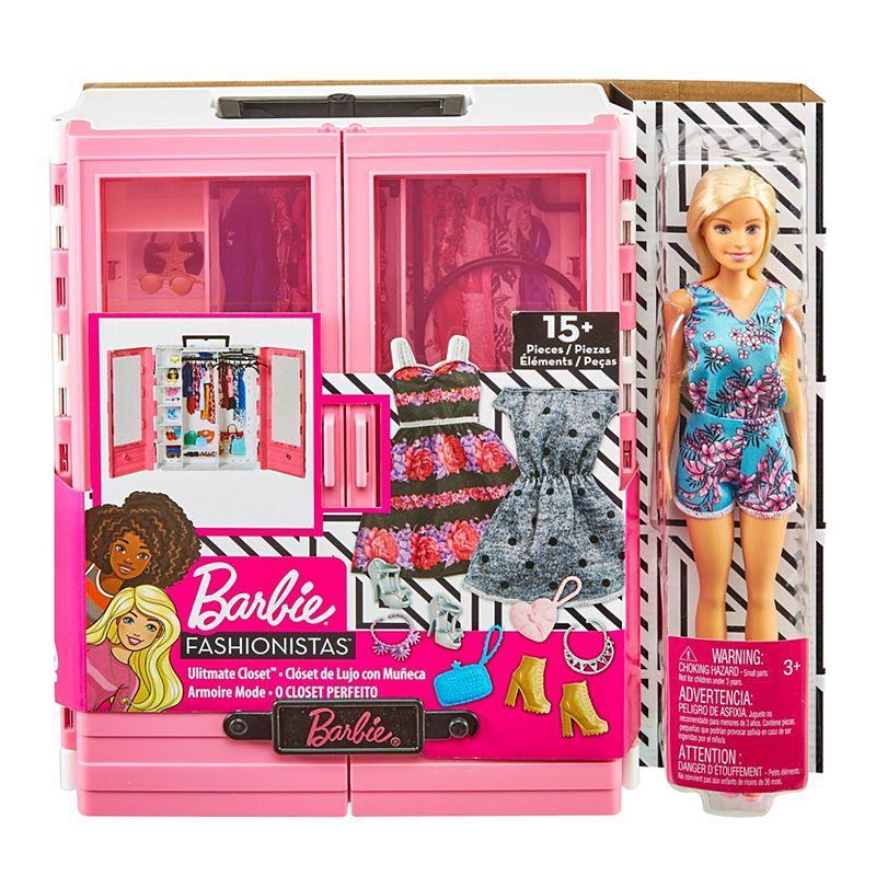 """Barbie """"Игра с модой"""" Игровой набор шкаф чемодан с куклой Барби и аксессуарами"""