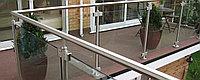 Перила стеклянные хромированное для балконов