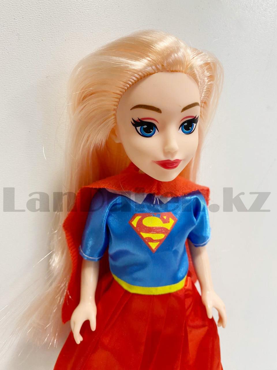 Кукла игрушечная детская Супер герл Super girl в костюмчике 24 см - фото 4