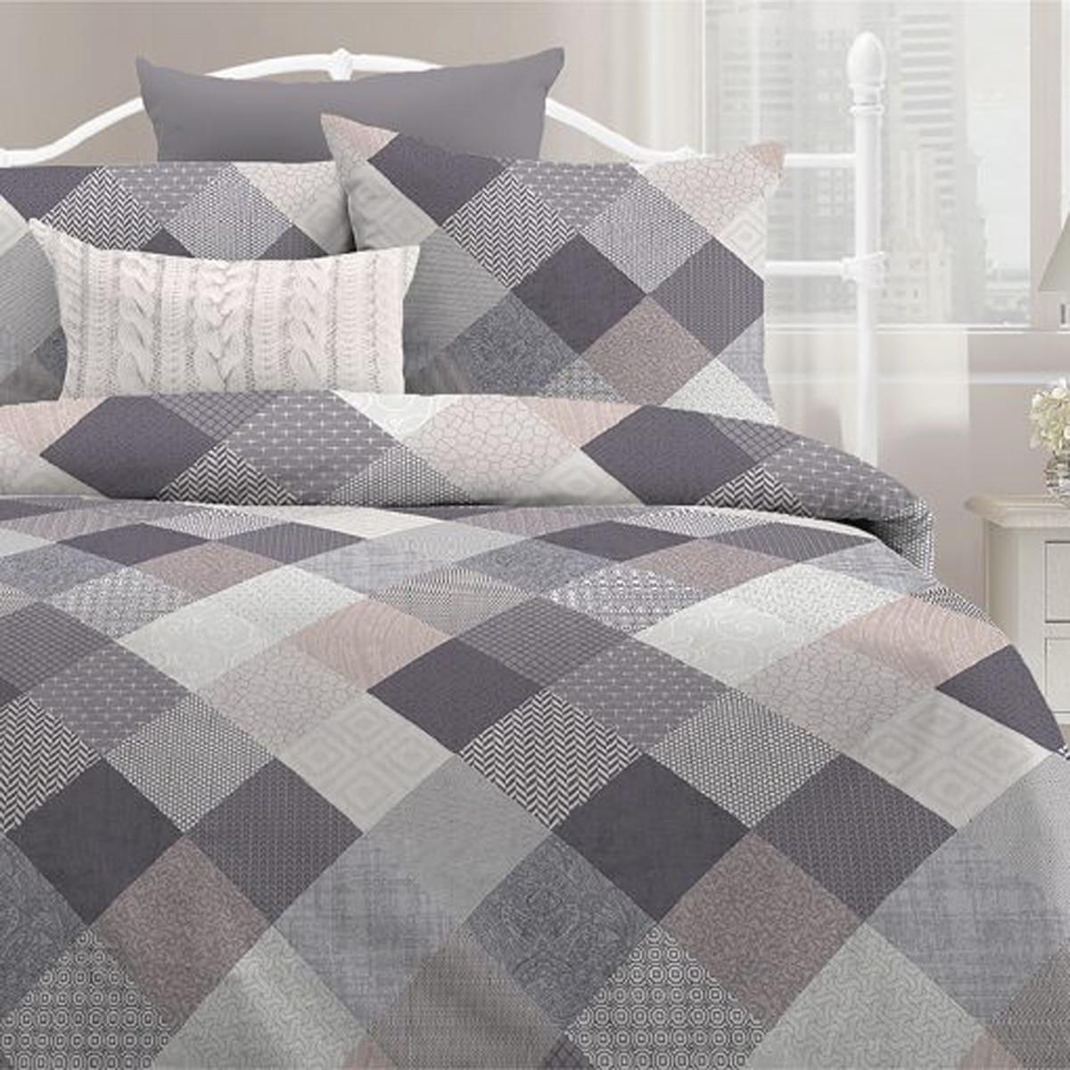 Любимый дом Комплект постельного белья Печворк, Дуэт( семейный набор)