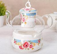 Чайник заварочный Софи (800 мл, с керамическим ситом и подставкой для подогрева, микс)