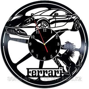 Настенные часы из пластинки, авто Ferrari Феррари, подарок фанатам, любителям, владельцам, 0014
