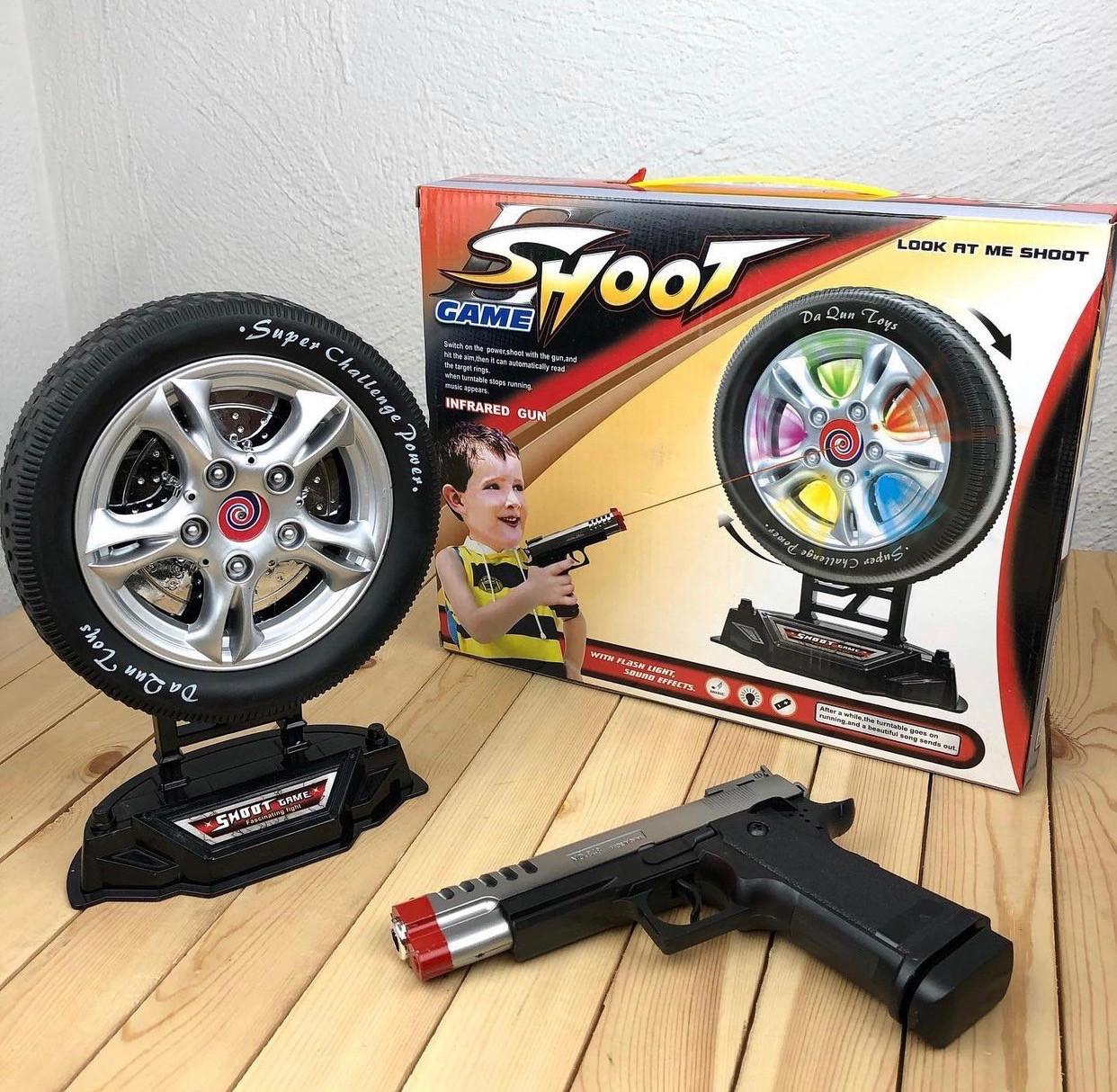 Электронный тир «Колесо удачи» Shoot game крутящееся колесо с пистолетом в комплекте (свет, звук)