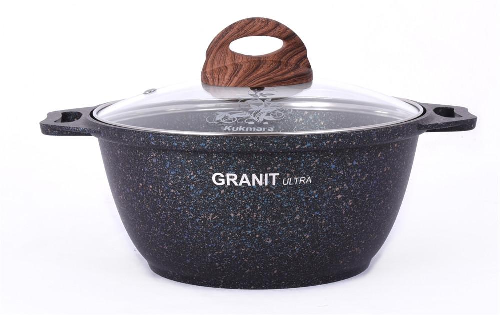 """Кастрюля 4 литра со стеклянной крышкой, """"Granit ultra"""" (Blue)"""