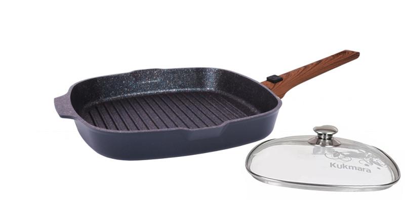 "Сковорода-гриль 280х280мм со съемн. ручкой, ст. крышка, ""Granit ultra"" (Blue)"