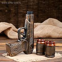 """Коньячный набор """"Пистолет"""", 3 предмета, бронза, 0.3/0.1 л"""