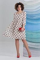 Женское летнее шифоновое бежевое большого размера платье Avanti Erika 1178-1 46р.