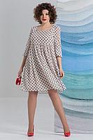 Женское летнее шифоновое бежевое большого размера платье Avanti Erika 1178-2 52р.