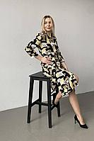 Женское летнее платье Faldas ФС-9 желто-черный 48р.