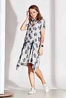 Женское летнее из вискозы серое большого размера платье Noche mio 1.099-2 56р.