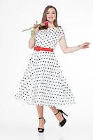 Женское осеннее нарядное платье T&N 7025 белый+черный_горох 44р.