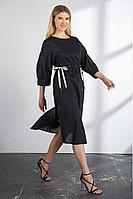 Женское осеннее хлопковое черное платье Vladini DR1129 черный 48р.
