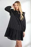 Женское осеннее черное платье Vladini DR1111 черный 42р.