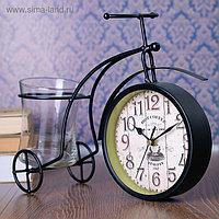 """Часы настольные """"Велосипед ретро"""", чёрный, с кашпо, 30х22.5х11 см"""